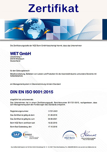Zertifiziert nach DIN EN ISO 9001:2008 durch die Zertifizierungsstelle des VQZ Bonn e.V.
